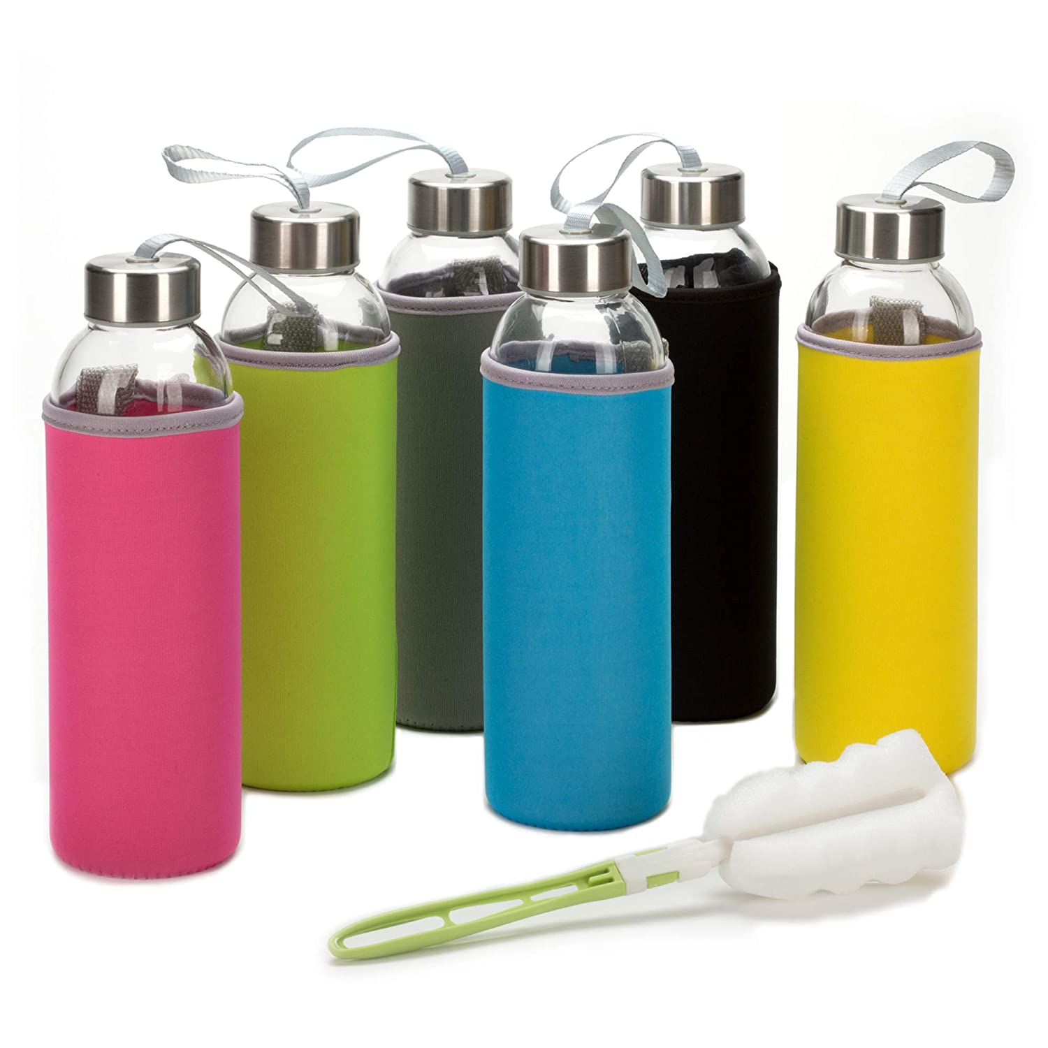 Glass Water Bottle 6 Pack 18oz Bottles for Beverages and Juicer Use Stainless Steel Leak Proof Caps with Carrying Loop - Including 6 Black Nylon Protection Sleeve and Soft Cleaning Brush
