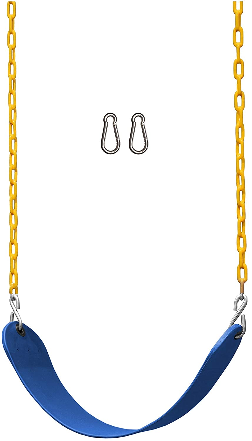 "Jungle Gym Kingdom Swing Seat Heavy Duty 66"" Chain Plastic Coated - Playground Swing Set Accessories Replacement (Blue)"