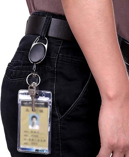 2 pezzi supporto passaporto portachiavi estensibile,con cavo in acciaio extra-forte astrappo,retrattile robusto con Clip Cintura e Gancio per Badge fascia a cerniera e filo metallico acciaio 65cm nero
