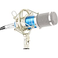 Neewer NW-800 Microphone Set Including (1) NW-800 Professional Condenser Microphone + (1) Microphone Shock Mount + (1) Ball-Type Anti-Wind Foam Cap + (1) Microphone Power Cable (Blue)