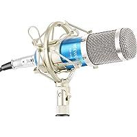 Neewer® NW-800 Micrófono Set Incluye (1)NW-800 Professional Micrófono de condensador + (1)Soporte de micrófono Shock + (1)Ball-type Anti-Wind Foam Cap + (1)Cable de alimentación de micrófono (Azul)