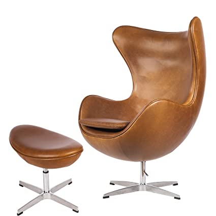 Merveilleux Mid Century Modern Classic Arne Jacobsen Egg Replica Lounge Chair Premium  Vintage Caramel Brown PU Leather