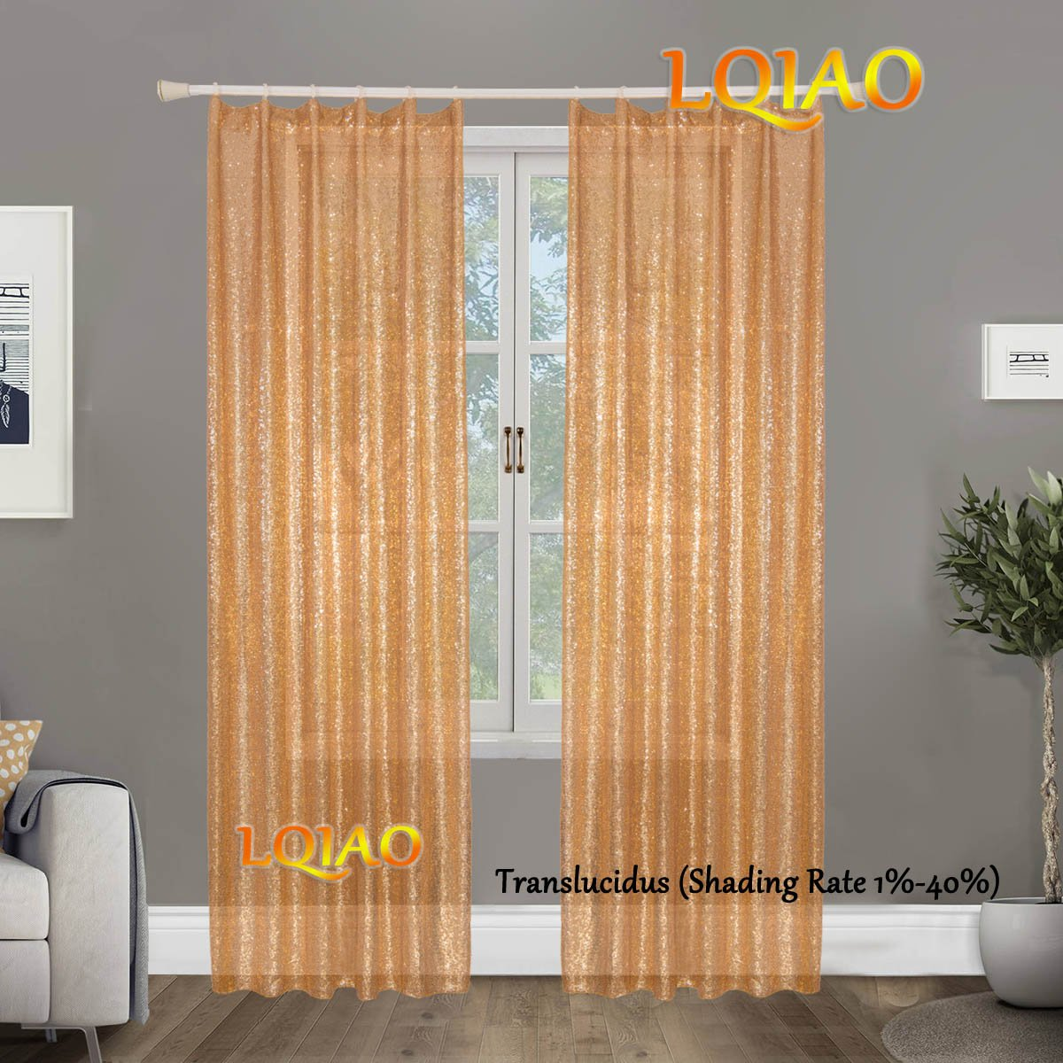 LQIAO Luxurious Metalic Gold Sequin Curtains 200x250cm Sparkly Gold Fabric Window Curtain Panel,little see through, 80x100 inches,More Colors Options Hooks Possible