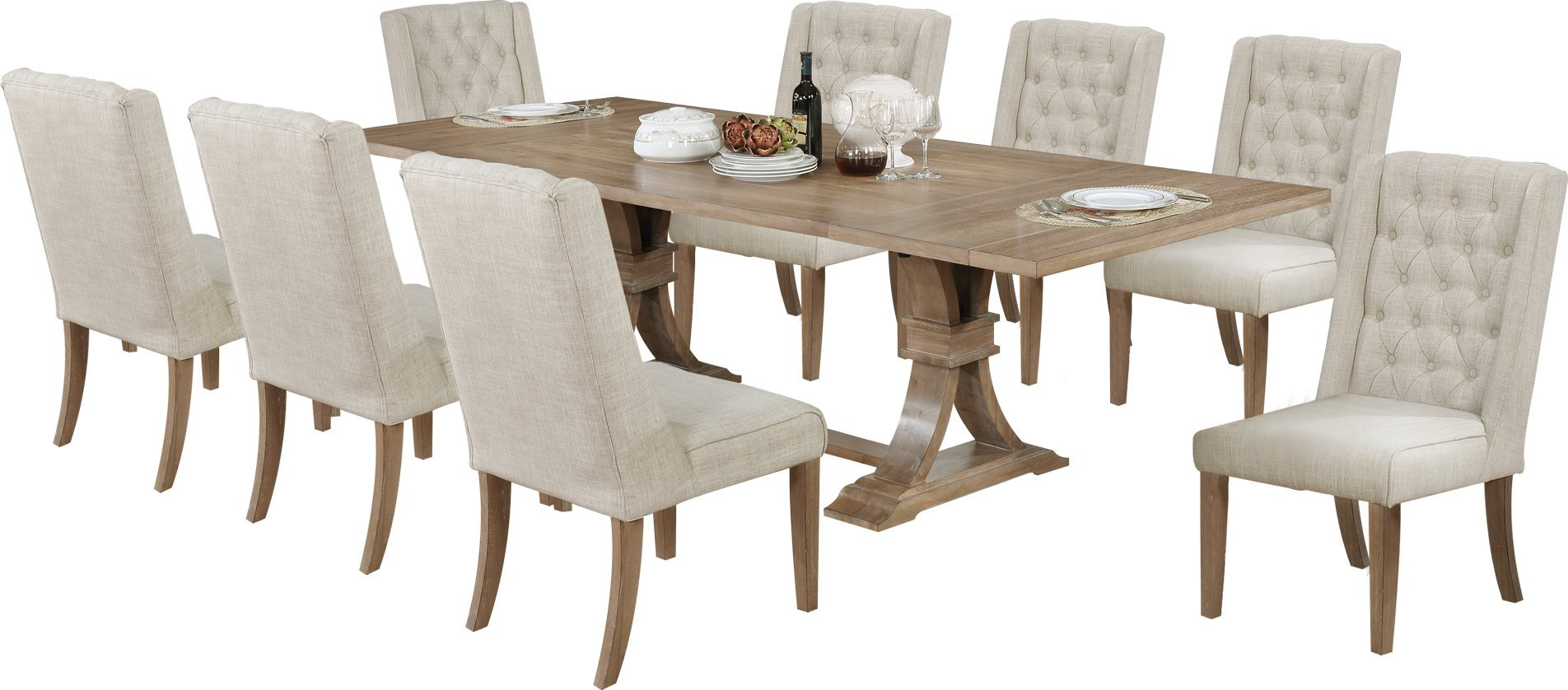 Best Quality Furniture D379PCSet 9PC Dining Set, Beige by Best Quality