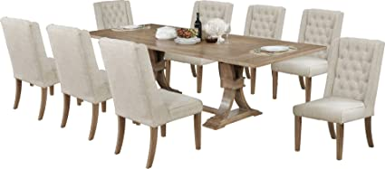 Best Quality Furniture D379PCSet Dining Set, 9PC, Beige