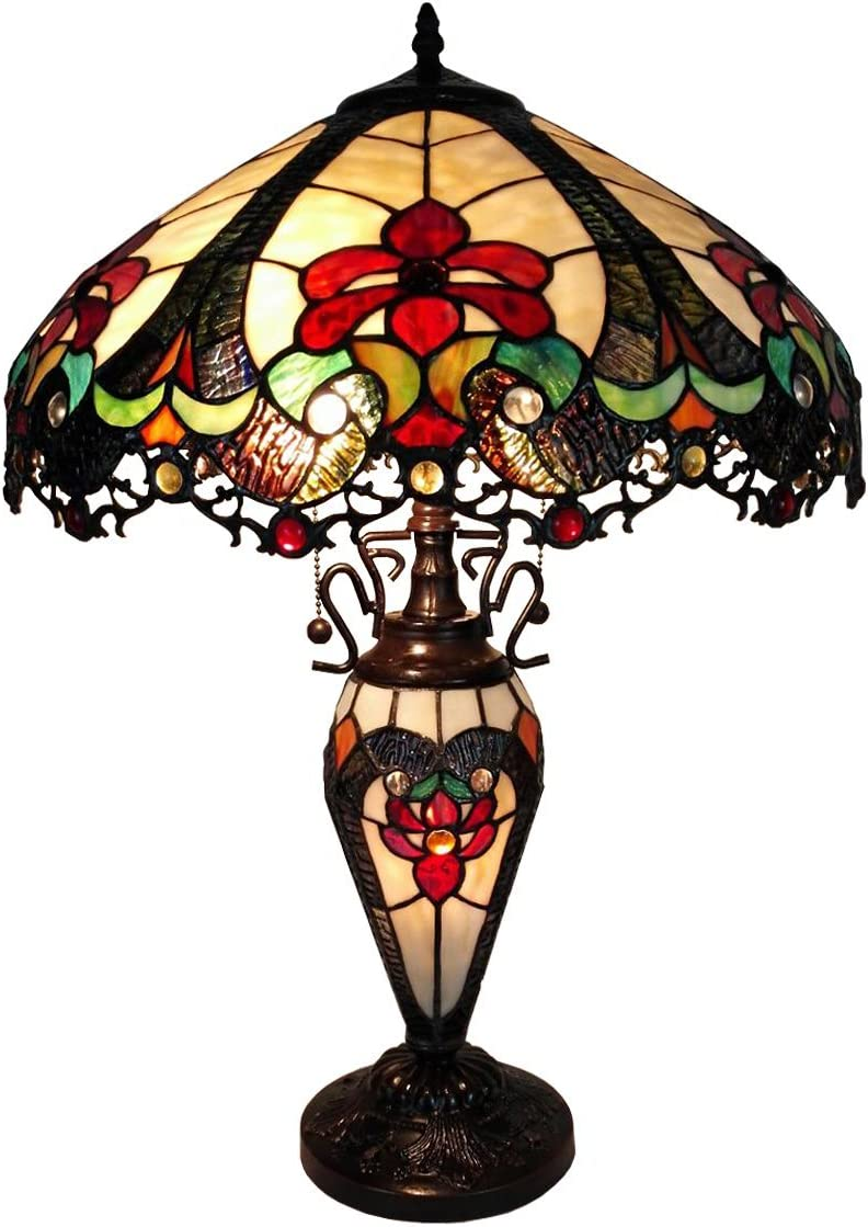 Amora Lighting Tiffany Style Floor Lamp Standing 62 Tall Stained Glass Yellow Blue Green Antique Vintage Baroque Light Decor Bedroom Living Room Reading Gift AM1072FL16, 16 inches Diameter, 62 inches