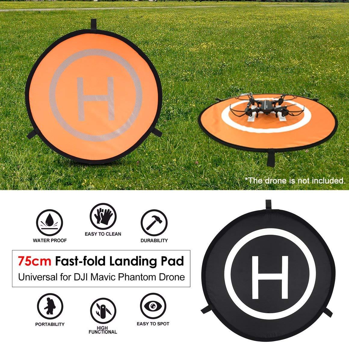 Arancione e Nero Funnyrunstore 75 Centimetri Landing Pad Veloce Universale FPV Drone parcheggio Grembiule Impermeabile Pad per DJI Spark Mavic FPV Racing Drone Helicopter-
