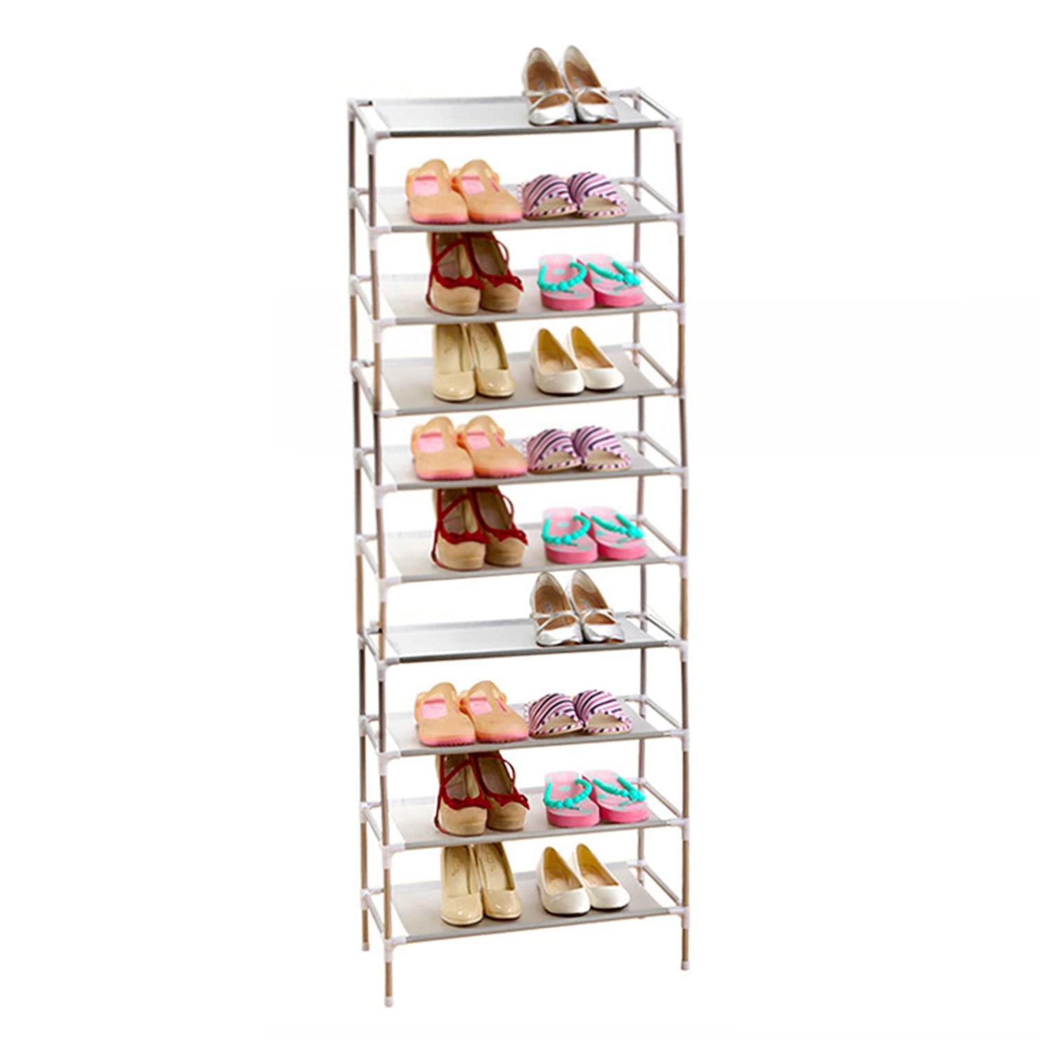 acornfort s115 10 tier adjustable shoe storage shoe rack organiser shelf hold stand for 30 pairs space saving easy assemble amazoncouk kitchen u0026