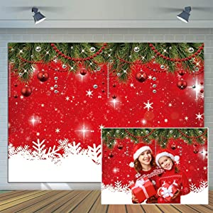 CYLYH 7x5ft Snowflake Christmas Backdrop for Winter New Year Eve Photography Family Party Birthday Glitter Bokeh Sparkle Red Merry Xmas Background Baby Shower Decoration Photo Booth Props