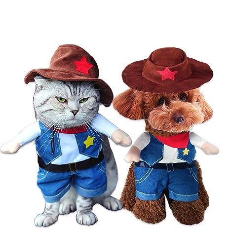 SymbolLife Perro Gato Disfraz Estilo vaquero con sombrero Gracioso ...