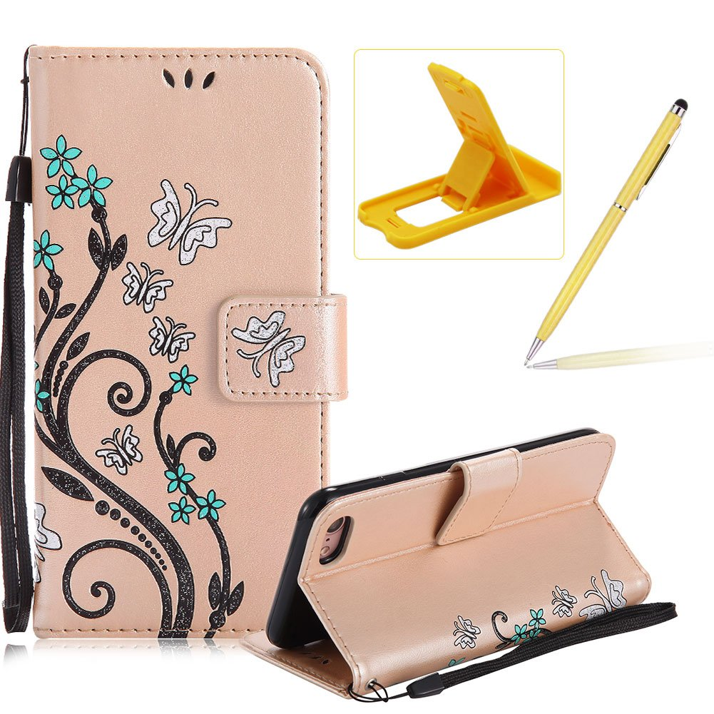 Strap Case for iPhone 5C,Smart Leather Cover for iPhone 5C,Herzzer Stylish Butterfly Flower Design Wallet Folio Case Full Body PU Leather Protective Stand Cover with Inner Soft Silicone Shell for iPhone 5C + 1 x Free Pink Cellphone Kickstand + 1 x Free Pin