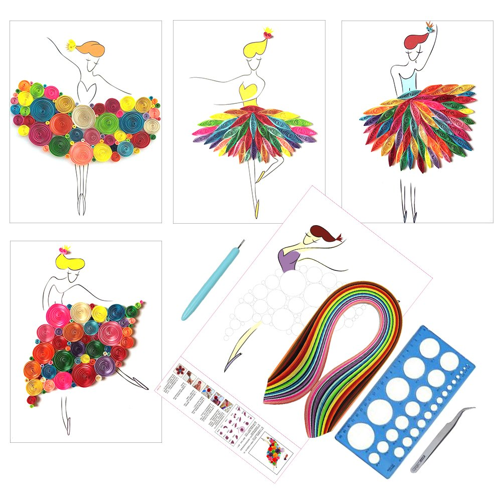 IMISNO Paper Quilling Strips Kit Slotted Tools& DIY Making Drawings Creations Tool Set Perfect for Beginner
