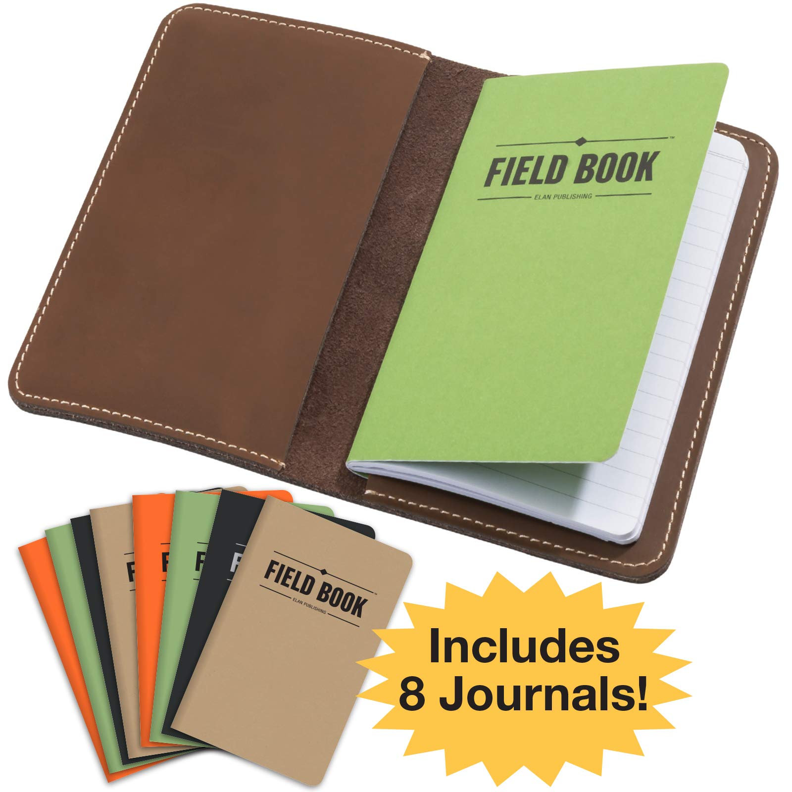 Handcrafted Stitched Leather Journal Notebook Cover with Inside Pocket: Includes 8 Bonus Refillable Field Note Book Journals/Compatible with Field Notes and Moleskine Cahier Notebook (3.5''x5.5'')