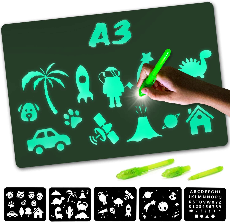 Nene Toys – Pizarra Mágica de Luz [Tamaño A3] – Novedoso Tablero Luminoso para Dibujar en la Oscuridad – Juguete Infantil para Niños Niñas de 3 a 12 años - Incluye 2 Bolígrafos Mágicos + 5 Plantillas