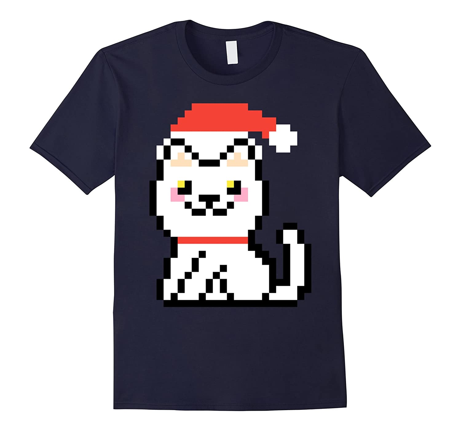 White Kitten Smiling Xmas Retro 8-Bit Pixel Cat Art Shirt-ANZ