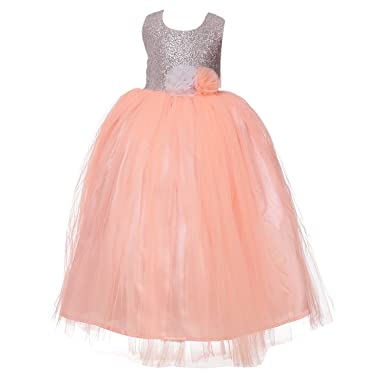 ad7f85003197 Samsara Couture Peach Floral Designer Birthday Party Dress and Gown for  Kids for 1 Year