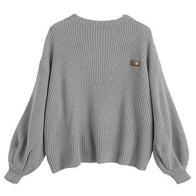 ZAFUL Mujer Suéter de Color Sólido Jersey de Punto Top Suelto Abrigo Cálido Outwear Sweater (Gris): Amazon.es: Ropa y accesorios