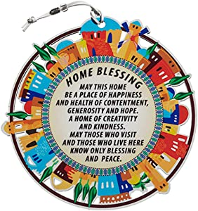 Colourful Round Plate Wall Hanging Decor, English Blessings for Home Jerusalem Old City Design, Evil Eye Protection, Amulet Home/Business Good Luck Charms, Home Blessing