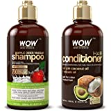 WOW Apple Cider Vinegar Shampoo & Hair Conditioner Set - (2 x 16.9 Fl Oz / 500mL) - Increase Gloss, Hydration, Shine - Reduce