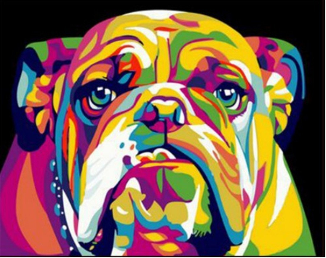 Adult Paint by Numbers with Frame, Komking DIY Paint by Number Kits for Kids on Canvas Painting with Brush, Colorful Dog 16x20inch by Komking