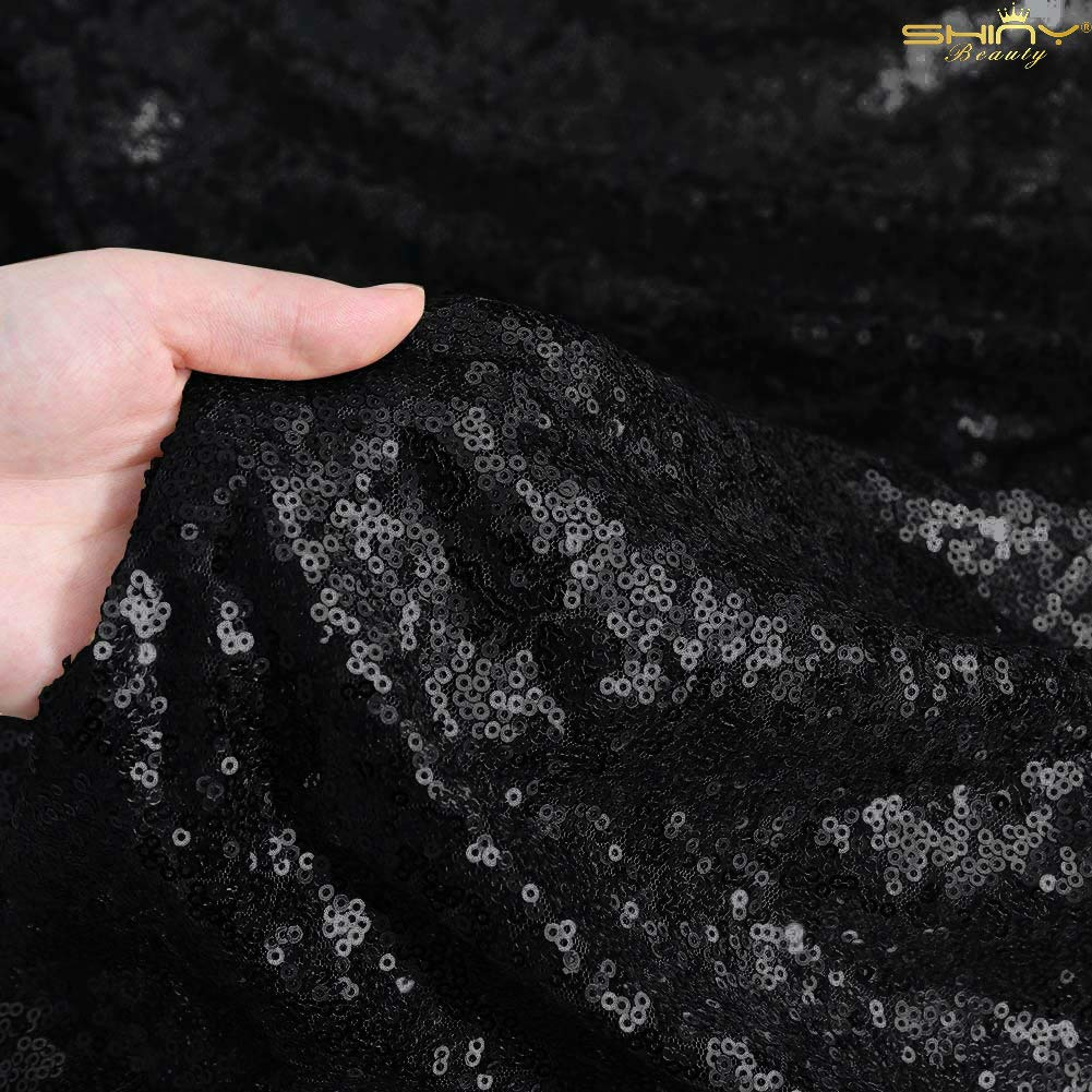 15 Feet Sequin Fabric by The 5 Yards Black Sequin Fabric for Sewing Costumes Sequin Knit Fabric Sequin Table Cloth Table Linen ~0818S by ShiDianYi (Image #3)