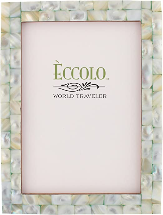 Pink Eccolo Naturals Collection Mother-of-Pearl Frame Holds 8 by 10-Inch Photo