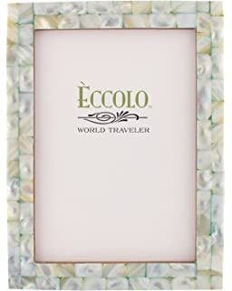 eccolo world traveler naturals collection mother of pearl frame holds 4 by 6