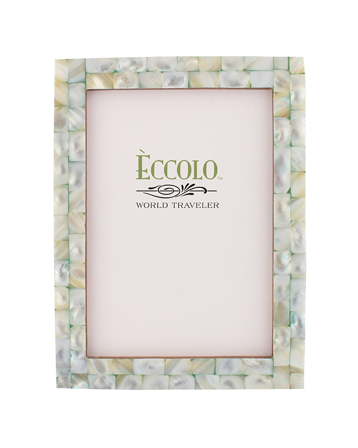 amazoncom eccolo world traveler naturals collection mother of pearl frame holds 8 by 10 inch photo green single frames - Mother Of Pearl Picture Frame