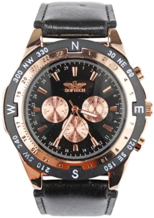 453abfce364 Softech Strap Analogue Mens Watch Black Strap   Bronze Dial J400   Amazon.co.uk  Watches