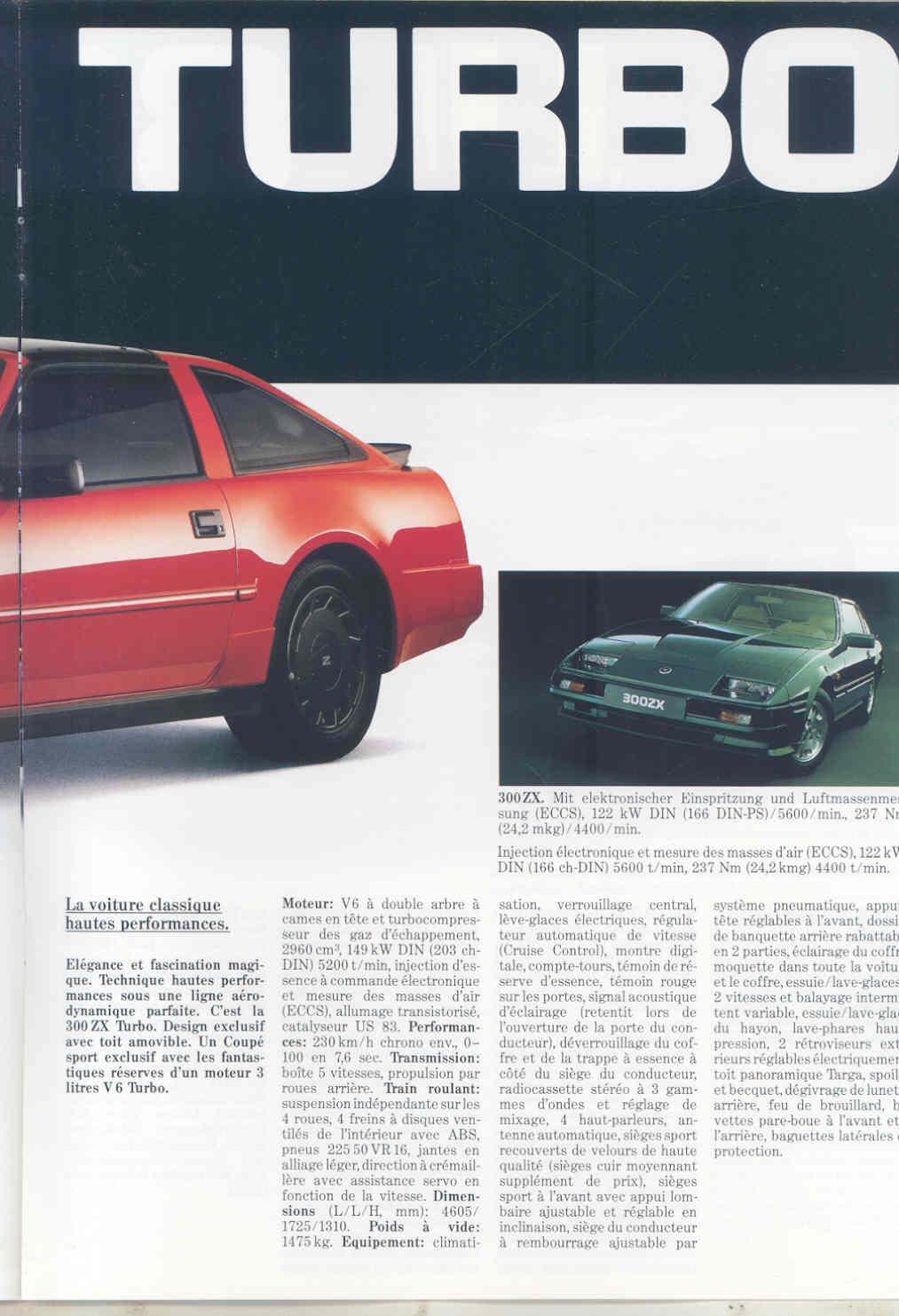 Amazon.com: 1987 Nissan Switzerland Micra Silvia 300ZX Turbo Bluebird Laurel Brochure: Entertainment Collectibles
