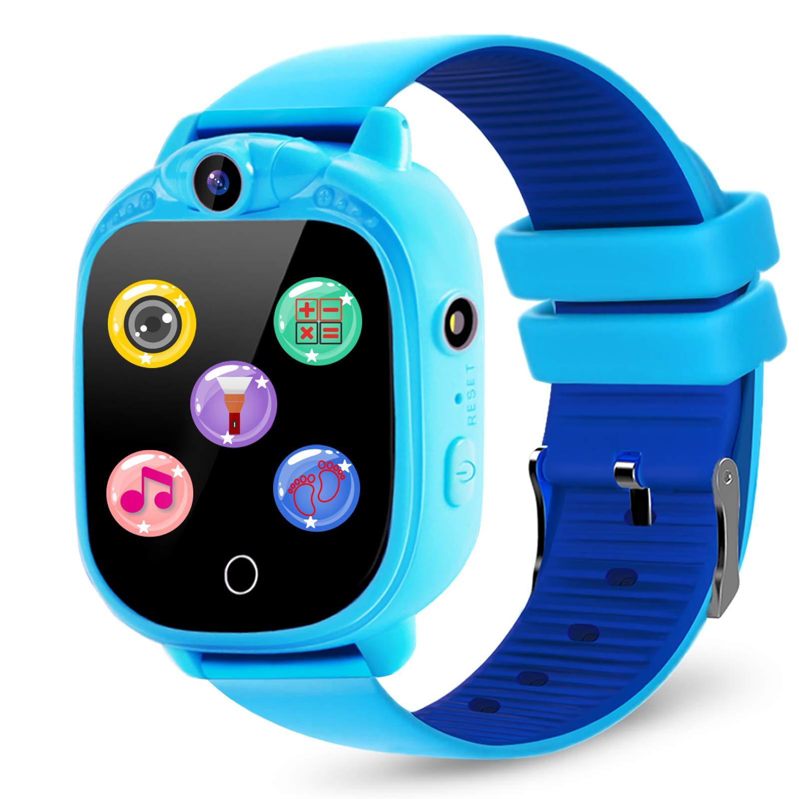 Prograce Kids Smartwatch with 90°Rotatable Camera Touchscreen Kids Watch Music Pedometer Flashlight