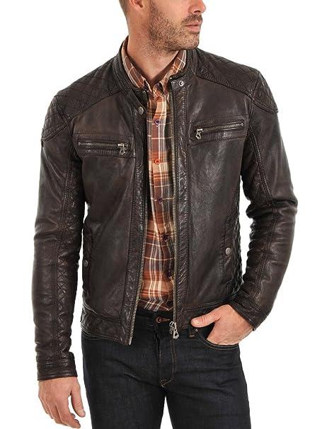 Piel de cordero chaqueta de cuero para hombre, color marrón ...