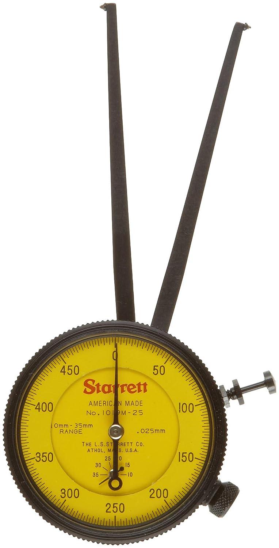 Pointed Jaw 10-35mm Range Starrett 1019M-25 Caliper Gauge +//-2mm Accuracy 0.025mm Resolution Yellow Face