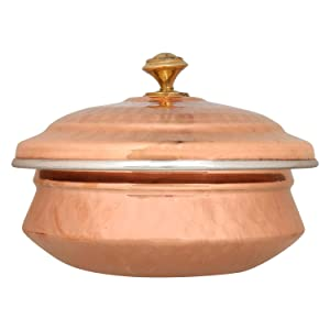 Zap Impex Hammered Copper and Stainless Steel Tableware- Dishes Serving Bowl Tureen with Lid