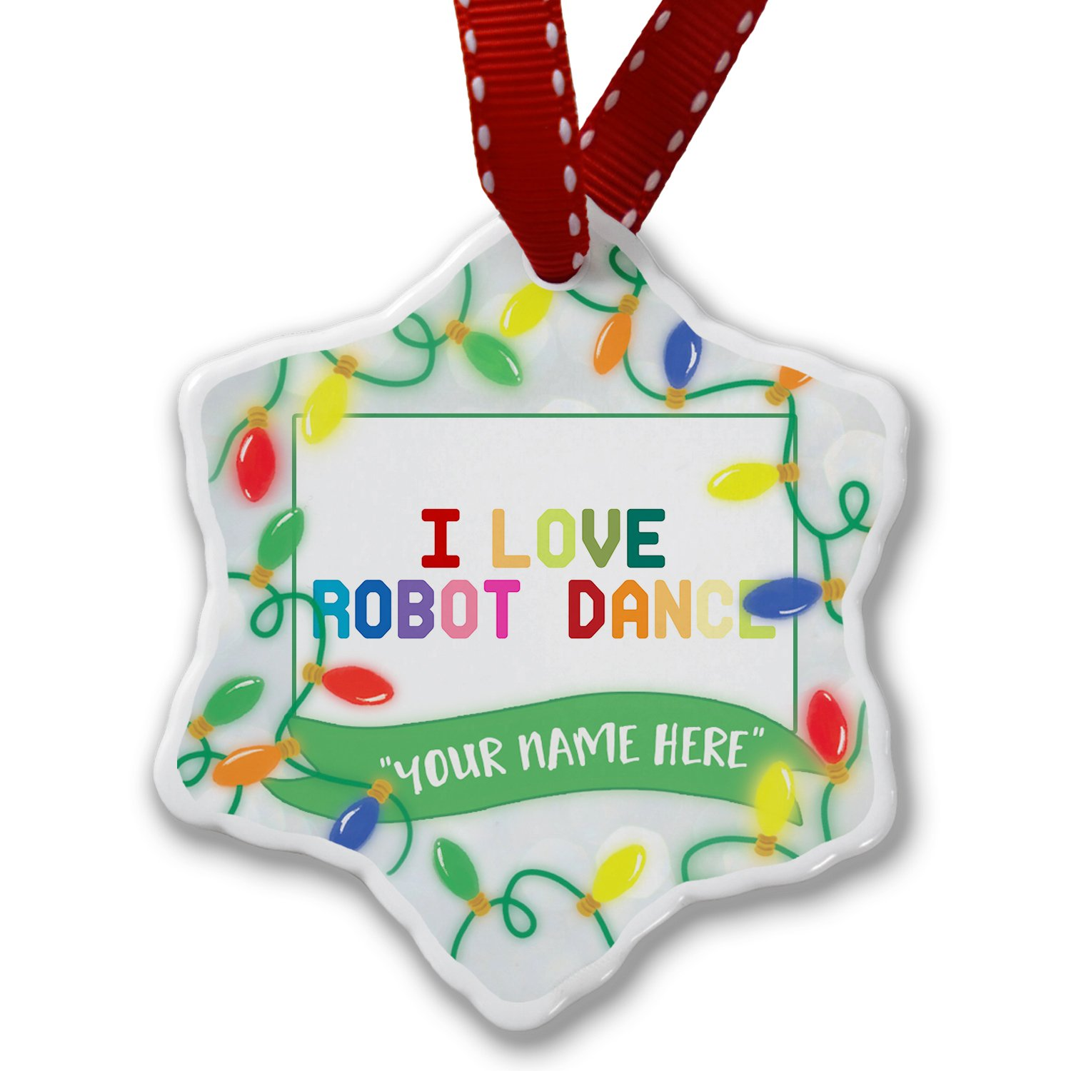 Personalized Name Christmas Ornament, I Love Robot Dance,Colorful NEONBLOND