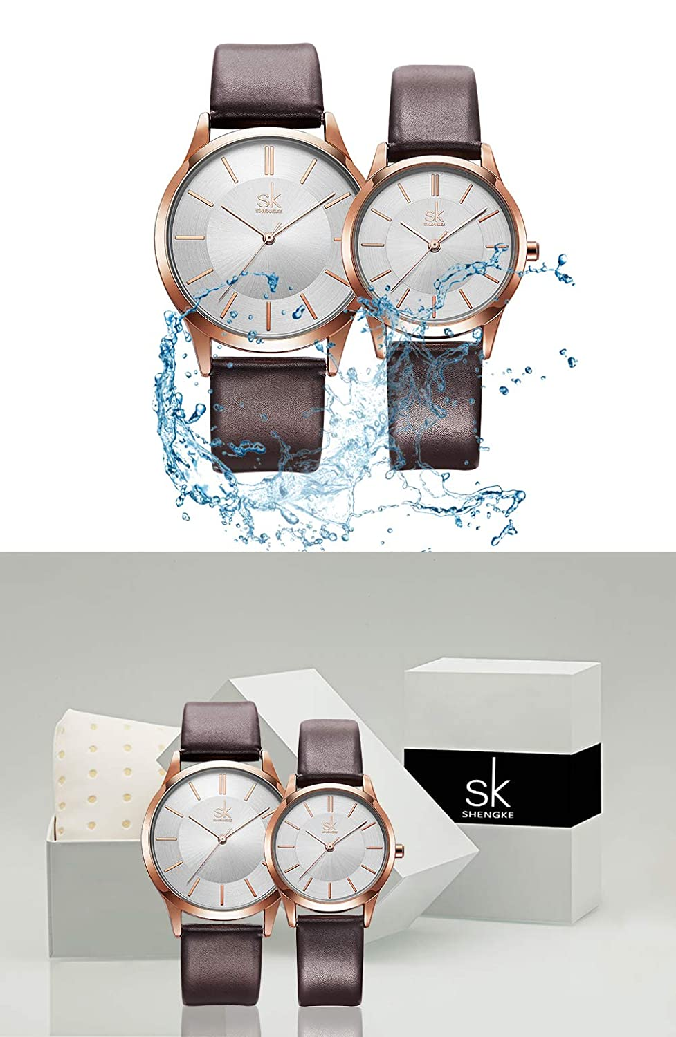 bbadce1c3dda Amazon.com  SK SHENGKE Couple Watches Anniversary Gifts for Lover Set of 2  Pairs Sweet Gifts for Valentines. (K8037-Brown)  Watches