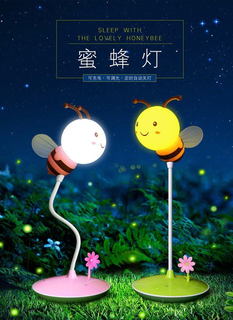 Flikool Ricaricabile 3D Ape LED Luce Notturna Curvabile Flessibili Lampada Comodino Toccare Sensore Bee Luce di Notte Touch Sensitive Dimmerabile Lampada da Tavolo Regalo Pink