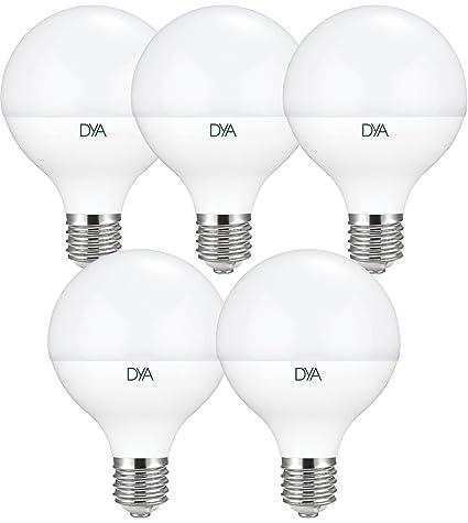 DYA - Juego de 5 bombillas LED, tipo globo, 18W, casquillo E27,