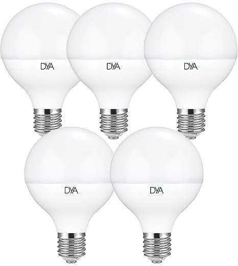 Set 5 bombillas globo LED 14 W - E27 - 1350 lúmenes - luz fría 6000