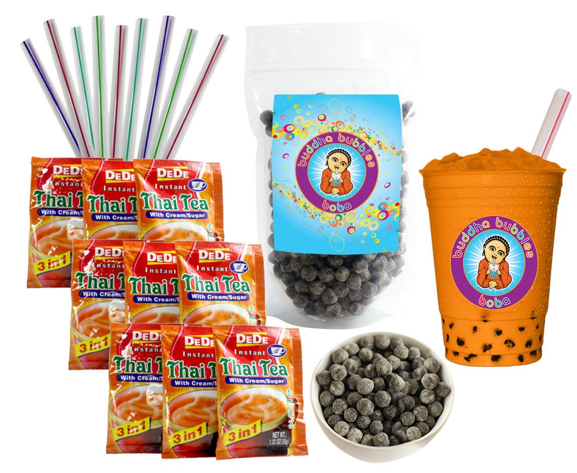 DeDe Instant Boba Tea Kit 9 Drink Packets, Straws & Boba Thai Iced Tea by DeDe & Buddha Bubbles Boba