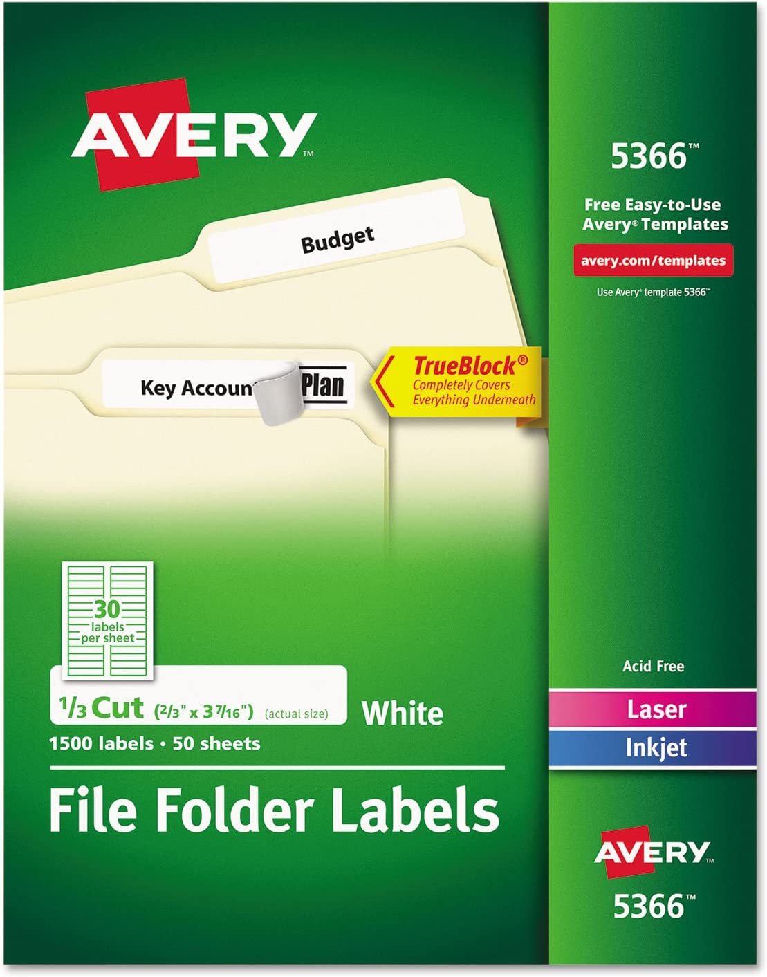 Avery File Folder Labels for Laser and Ink Jet Printers with TrueBlock Technology, 3.4375 x .66 inches, White, Box of 1500 (5366) : Office Products