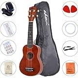 "ADM Ukulele 21"" Soprano Wood Economic Starter Pack with Gig bag, Tuner, Fingerboard Sticker, Chord card, Brown"