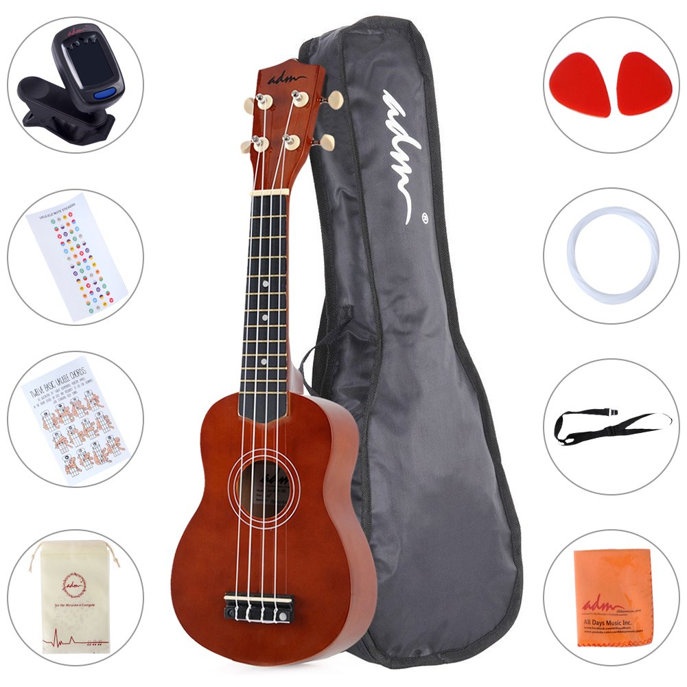 ADM Ukulele 21 Inch Soprano Wood Beginner Kit with Gig bag Tuner Fingerboard Sticker Chord card, Mocha Iccep JU111N-BR