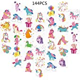 Unomor 144PCS Unicorn Temporary Tattoos for Kids Birthday Party, Unicorn Party Supplies Party Favors -24Patterns(2inchX2inch)