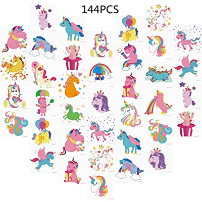 Unomor 144PCS Unicorn Temporary Tattoos