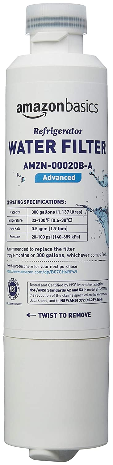 AmazonBasics Replacement Samsung DA29-00020B Refrigerator Water Filter - Premium Filtration - 3-Pack AMZN-00020B-P3