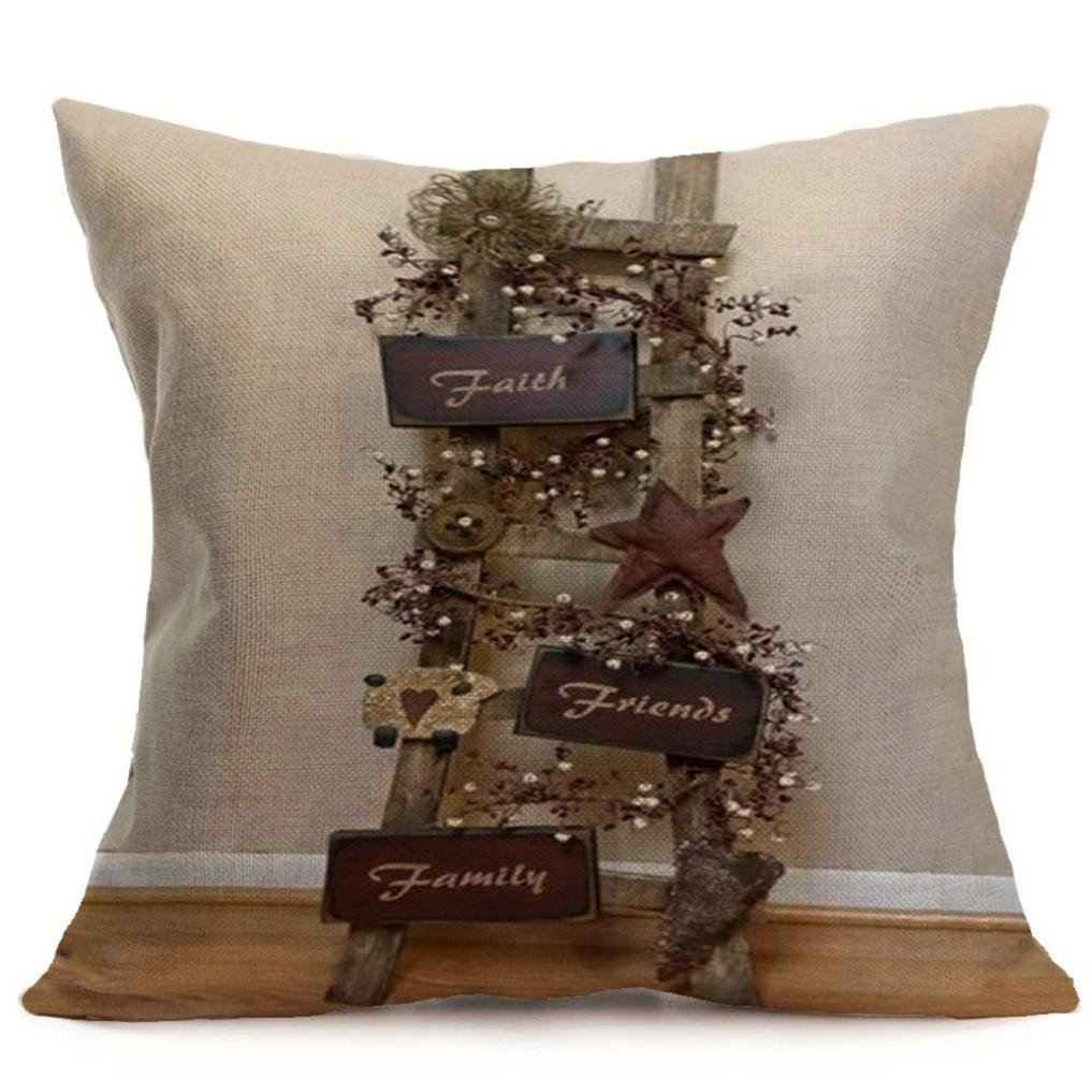 Usstore 1PC Thanksgiving Soft Linen Pillowcase Cover Home Decoration for Cafe Living Sofas Beds Room (Q)