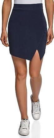 oodji Ultra Mujer Falda Corta con Abertura Diagonal, Azul, ES 46 ...
