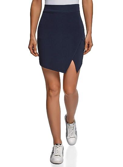 oodji Ultra Mujer Falda Corta con Abertura Diagonal, Azul, ES 40 ...