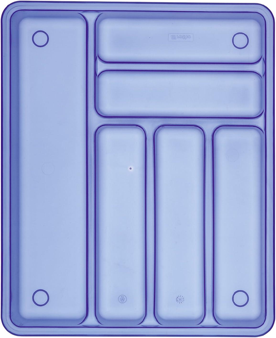 Schubladeneinsatz f/ür Besteck aus Kunststoff Besteckeinsatz f/ür Schubladen ab 40 cm Breite PP 39 x 32 x 5 cm blau Rotho Besteckkasten BASIC 6 F/ächer ca